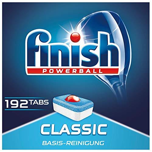 Finish Classic Spülmaschinentabs, phosphatfrei – Geschirrspültabs mit Powerball für die Basis-Reinigung des Geschirrs – Für 3 Monate – Gigapack mit 192 Finish Tabs