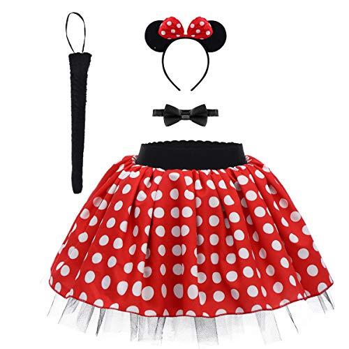 OBEEII Polka Dots Niña Vestido de Princesa Disfraz de Fiesta Lunares Tutú Traje con Diadema+Pajarita+Cola Conjunto para Cosplay CarnavalCumpleaños Danza Rojo 5-6Y