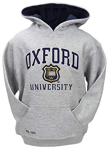 Oxford University OU129K - Sudadera unisex con capucha para niños, color gris