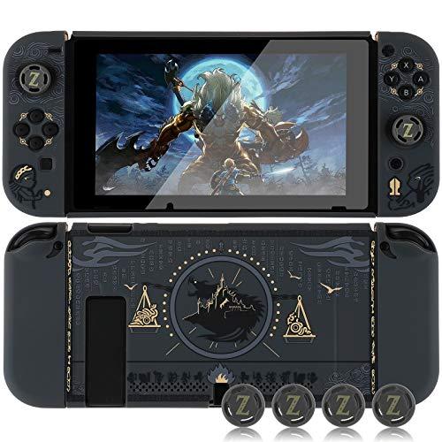 Dockable Schutzhülle für Nintendo Switch, Schutzhülle für Nintendo Switch und Joy Con Controller mit 4 Daumengriffen (Zelda)