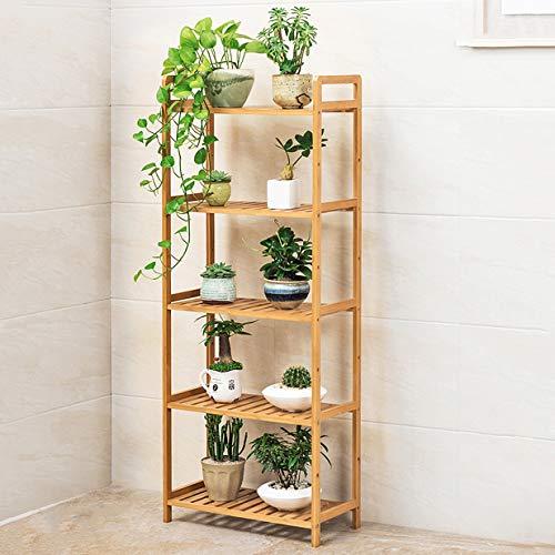 HLQW Tablette à fleurs en bambou, balcon, salle de séjour, support à pots de fleurs à plusieurs étages, support à fleurs à plantes charnues, 5 étages, longueur de 50 cm