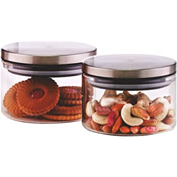 Borosil Classic Glass Jar for Kitchen Storage, Set of 2, (300ml + 300ml)