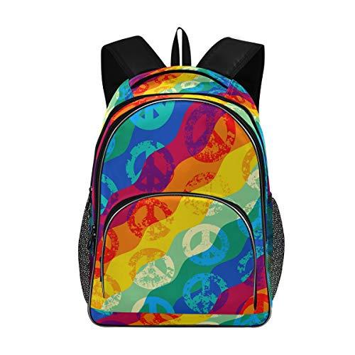 Stilvolle große Rucksack personalisierte Laptop-Reise für Mädchen Junge Schultasche mit Mehreren Taschen Regenbogen Wasserzeichen