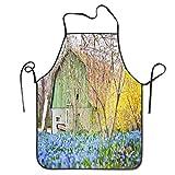 N\A Grembiule con Stampa a forsizia e Fiori di Primavera Barn Grembiule da Cucina Unisex con Collo Regolabile per Cucinare Cottura Giardinaggio