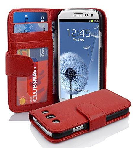 Cadorabo Hülle für Samsung Galaxy S3 / S3 NEO - Hülle in Inferno ROT – Handyhülle mit 3 Kartenfächern - Case Cover Schutzhülle Etui Tasche Book Klapp Style