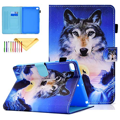 Uliking iPad Mini Case, Mini 2 3 4 5 Synthetic Leather Case Smart Kickstand Case Cover Flip Wallet Protective Case Cover for iPad Mini 1 2 3 4 5, Wolf
