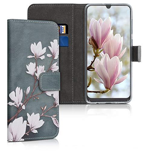 kwmobile Hülle kompatibel mit Samsung Galaxy A50 - Kunstleder Wallet Hülle mit Kartenfächern Stand Magnolien Taupe Weiß Blaugrau