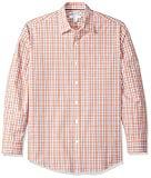 Amazon Essentials Men's Regular-Fit Long-Sleeve Casual Poplin Shirt, Coral/White, X-Large
