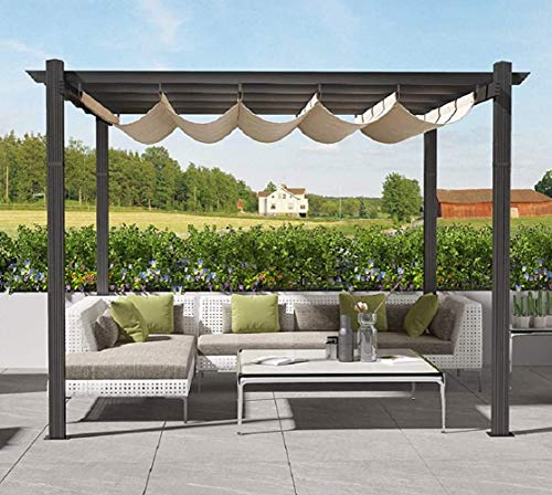 Tribesigns 10x10ft Patio Pergola Canopy for Outdoor Garden, Aluminum Grape Trellis Pergola Canopy Replacement, Sun Shade Shelter with Waterproof Polyester Cover (10'Lx10'Wx8'H, Khaki)