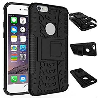 Calans Apple iPhone 6S Plus Tyre ShockProof Stand Case Cover with Screen Protector -Black