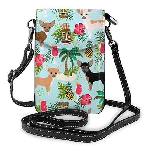 Kleine Umhängetasche für Damen und Mädchen, leicht, geräumig, Reise-Handtaschen, Mini-Umhängetasche, mit Kreditkartenfächern, Chihuahua-Hund, Ananas