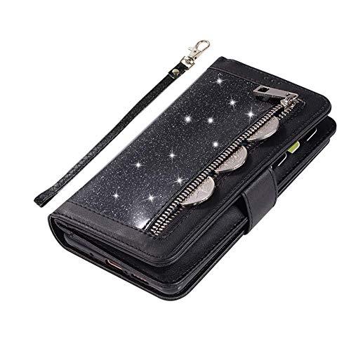 Saceebe Compatible avec Samsung Galaxy A71 Coque Bling Paillette Strass Glitter Cuir Étui Wallet Housse 9 Porte-Cartes Portefeuille de Protection Coque Fermeture Magnétique Pochette,Noir