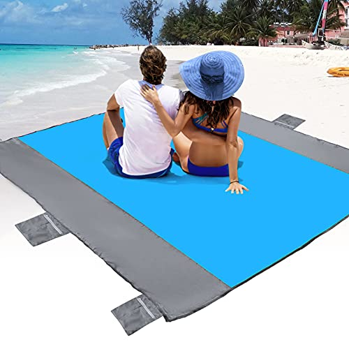 beach mat for adults POPCHOSE Sandfree Beach Blanket, Large Sandproof Beach Mat for 4-7 Adults, Waterproof Pocket Picnic Blanket with 6 Stakes, Outdoor Blanket for Travel, Camping, Hiking