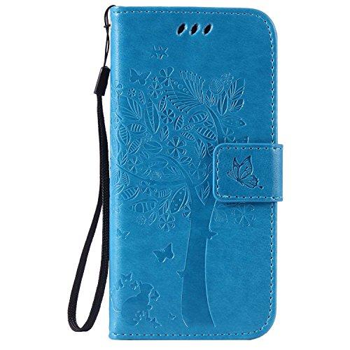 pinlu® Flip Funda de Cuero para Sony Xperia E4 Carcasa con Función de Stent y Ranuras con Patrón de Gato y Árbol Cover (Azul)