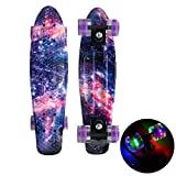 DUANYU 22 &Quot; Penny Board, Mini Cruiser Plastic Skateboard Galaxy Starry Sky Printed Long Board for Teens Adults Beginners Girls Boys Kids,Pink