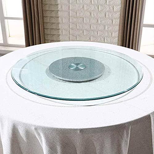 STEPPE Base para Tartas de Vidrio Templado Plata 16 Pulgadas,360° Giratorio Mesa Giratoria con Rodamiento Silencioso,para El Restaurante De La Cocina del Hotel
