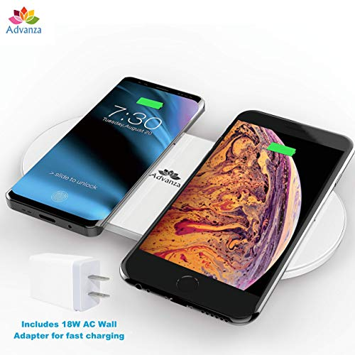 Advanza Dual Wireless Qi Charger Double Qi Fast Charging pad Fast Charging...