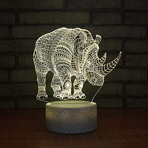 JYHW 3D LED Mood Change Night Light Usb 7 kleuren Rhino Shape Kids Touch Slaapkamer Dormire Home Decor Cartoon Lighting Atmosphere Desk Lamp