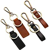 4 Pieces Leather Valet Keychain Leather Key Chain with Belt Loop Clip for Keys (Wide and Slim Belt Loop)