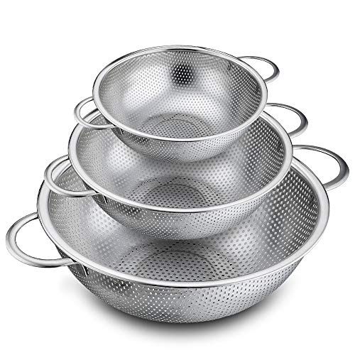 P&P CHEF Colander Set of 3, Stainless Steel Micro-Perforated Colanders Strainers for Draining Rinsing Washing, Ideal for Pasta Vegetables Fruits, Heavy Duty & Dishwasher Safe - 1/3/5 Quart