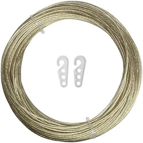 iGadgitz Home U6940 - Cuerda Tendedero Ropa Exterior de Acero Recubierta de PVC Cable Tendedero Hilo Para Tender Ropa, Jardín, Pared. - Oro - Longitud 30m