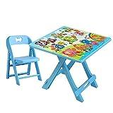 ZH Mesa Plegable para Infantil con Silla, Mesa de Actividades de plástico portátil...