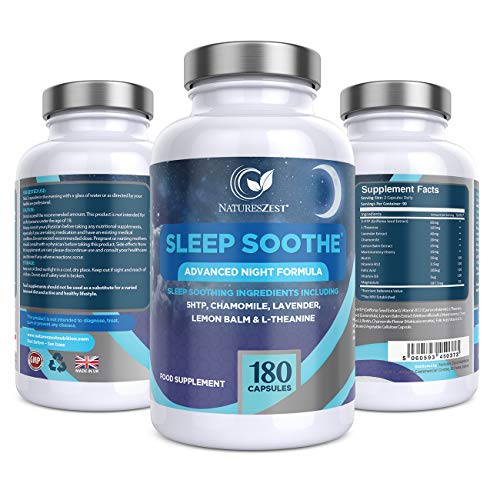 Sleep Soothe – with 5-HTP, Lemon Balm, Magnesium, Lavender, L-Theanine and Natural Melatonin Sources Sleep Supplement, 180 Vegan Capsules, UK Made by Natures Zest