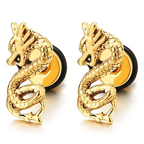 2 Color Oro Dragón Pendientes, Pendientes para Hombres, Acero Inoxidable, Cierre Tornillo