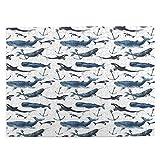 Rompecabezas de 500 Piezas,Acuarela Narvales Orcas y ballenas azules con anclajes Fauna ártica,Juego de Puzzle,Ilustraciones para Adultos,Adolescentes,Rompecabezas de impresión de Alta definición