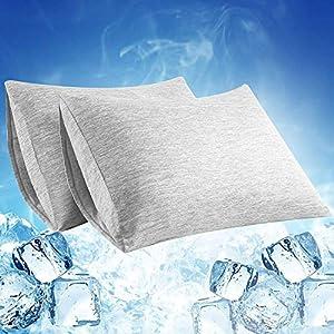 Elegear Funda de Almohada Enfriamiento 2 PCS, Almohadas Fundas con Diseño Doble Cara, Fibra ARC-Chill Japonesa de Primera Calidad Transpirable Súper Suave, Protege Piel y Cabello(Gris,40*80cm)