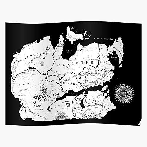 Ferelden Map Age Thedas Dragon Tevinter Orlais Regalo para la decoración del hogar Wall Art Print Poster 11.7 x 16.5 inch