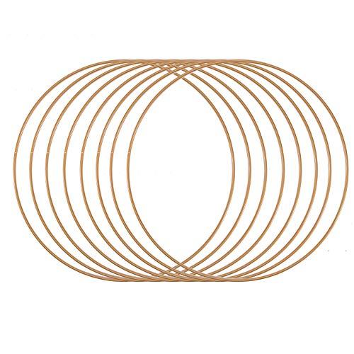 Vaessen Creative Metallring 8 Stück, Antik Gold, Spannring Ø25 cm aus 3 mm Metalldraht zum Traumfänger Basteln, Makramee Knoten, Mandala Häkeln sowie Gestalten weiterer Wanddeko und Fensterdeko
