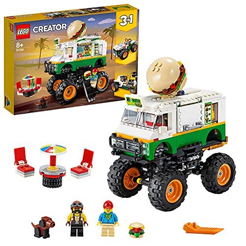 LEGO 31104 Creator 3 en 1 Le Monster Truck à Hamburgers, Jouet de Construction pour Enfants, Tracteur, Cadeau Fille et Garçon