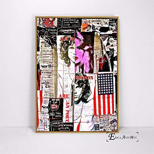 ganlanshu Straßenkunstbilder Pop-Art-Plakate und Wandgemälde abstrakte Figuren Hauptdekoration,Rahmenlose Malerei-40X60cm