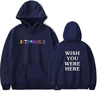Flyself Unisex Hoodies Astroworld Casual Long Sleeve Pullover Top Sweatshirts with Kangaroo Pockets Patchwork Top Sweater Jumper
