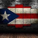 AAAKK Cuadro en Lienzo, Bandera de Puerto Rico República Dominicana, Cuadro Moderno En Lienzo 5 Piezas XXL, con Marco Listo para Colgar para Sala de Estar Décor