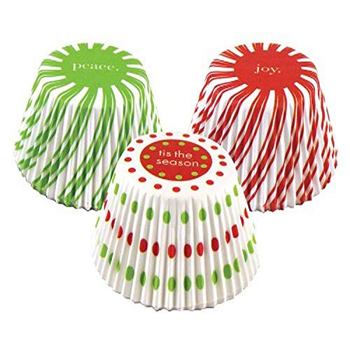 Fox Run Christmas Pinwheel Bake Cup Set, 3 x 3 x 1.25 inches, Multicolored