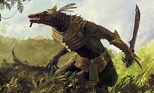 LSDEERE Pintura por números, kit digital de lienzo para manualidades, cuadro artístico, regalo, decoración, 16 x 20 cm, monstruo guerrero, reptil, fantasía.