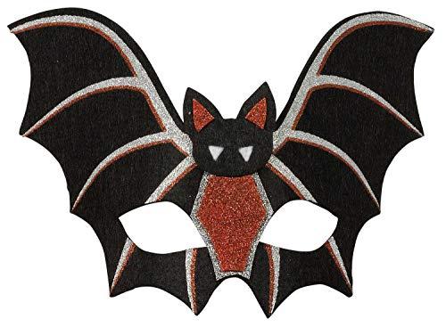 Amscan 848426-55 - Kinder-Maske Fledermaus, Silber-Rot-Schwarz, Größe ca. 24 x 16 cm, aus Polyesterfilz, Maske in Fledermausform mit Glitzer, Accessoire für Halloween oder Karneval, Kostüm