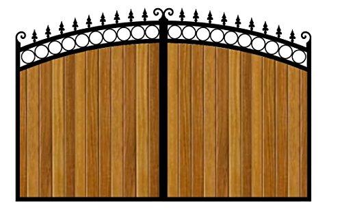 Heavy Duty Driveway Gate - Wooden Infill (2700 x 1800, Black)