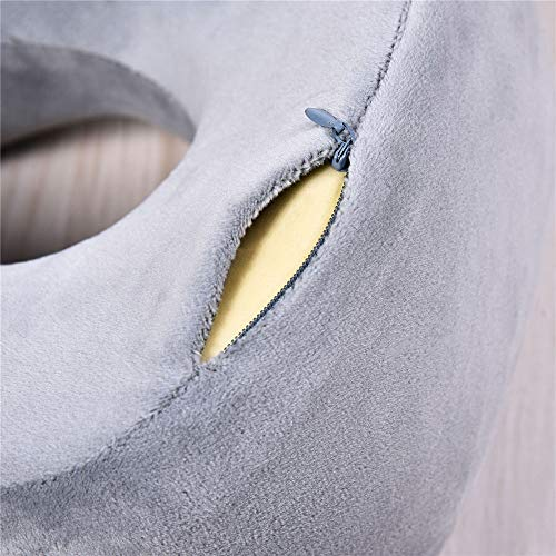 HSAW Travel Neck Cushion Travel Portable U-shaped Pillow Slow Rebound Memory Foam Neck Pillow for Camping Holiday Sleep (Color : Gray, Size : 28 * 26 * 12cm)