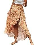 BerryGo Women's Boho Floral Wrap Maxi Skirt High Waisted Long Skirt with Slit Orange-M