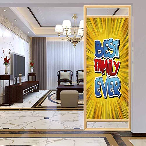 "W 23.6"" x L 78.7"" UV Glass Film Window Home Office Living Room,Comic Book Style Best Family Ever Words on Abstract Cartoon Backdrop GraphicBlue Red Yellow"