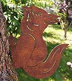 Rostalgie Edelrost Eichhörnchen mit Schraubgewinde für Holz 25 x 21 cm Garten Dekoration