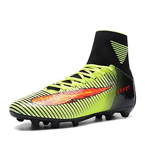 Loykind Botas De Fútbol con Tachuelas Moldeadas,Botines Transpirables Zapatos De Fútbol Calcetines Altos Cuidado del Tobillo Juventud Niños/Niñas Zapatillas,Verde,35