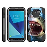 TurtleArmor | Compatible with Samsung Galaxy J7 2017 Case | J7 Prime | J7 Sky Pro [Dynamic Shell] Dual Layer Hybrid Impact Case Fitted Silicone Kickstand Sea Ocean - Shark Attack