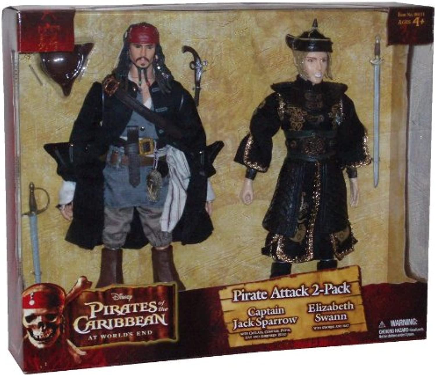 Disney Pirates of the Caribbean Movie Series At World's End 12 Inch Tall Action Figure 2 Pack Set - Pirate Attack 2-Pack - Captain Jack Sparrow with Cutlass, Compass, Pistol, Hat and Shrunken Head Plus Elizabeth Swann with Swords and Hat by Zizzle