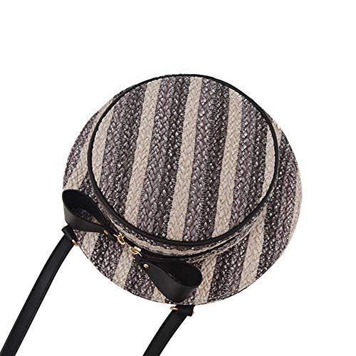 MoGist Bolsa de paja creativa con forma de sombrero, de paja cruzada para verano, mini cesta de mimbre, para viajes, playa, compras (gris)