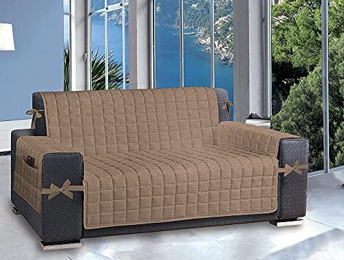 Splendor - Funda para sofá con bolsillos laterales de almacenamiento con relleno 100 % poliéster (4 plazas; 3 plazas; 2 plazas) (pardo, 2 plazas)