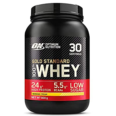 Optimum Nutrition ON Gold Standard Whey Protein, Muscle Building Powder With Naturally Occurring Glutamine and Amino Acids, Banana Cream, 30 Servings, 900 g, Packaging May Vary